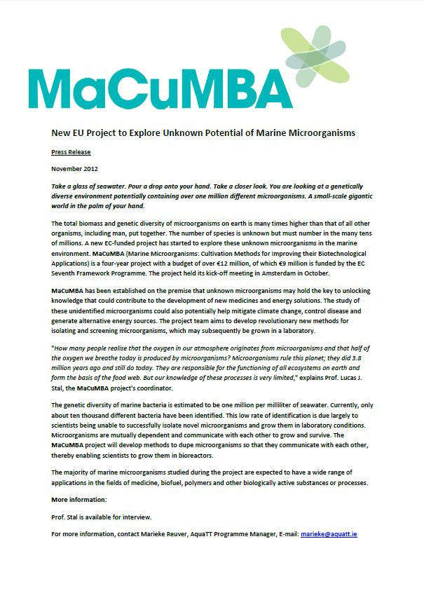 MaCuMBA 1st Press Release Nov2012